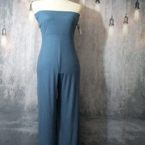 Go Couture Blue Strapless Slit Leg Jumpsuit  M